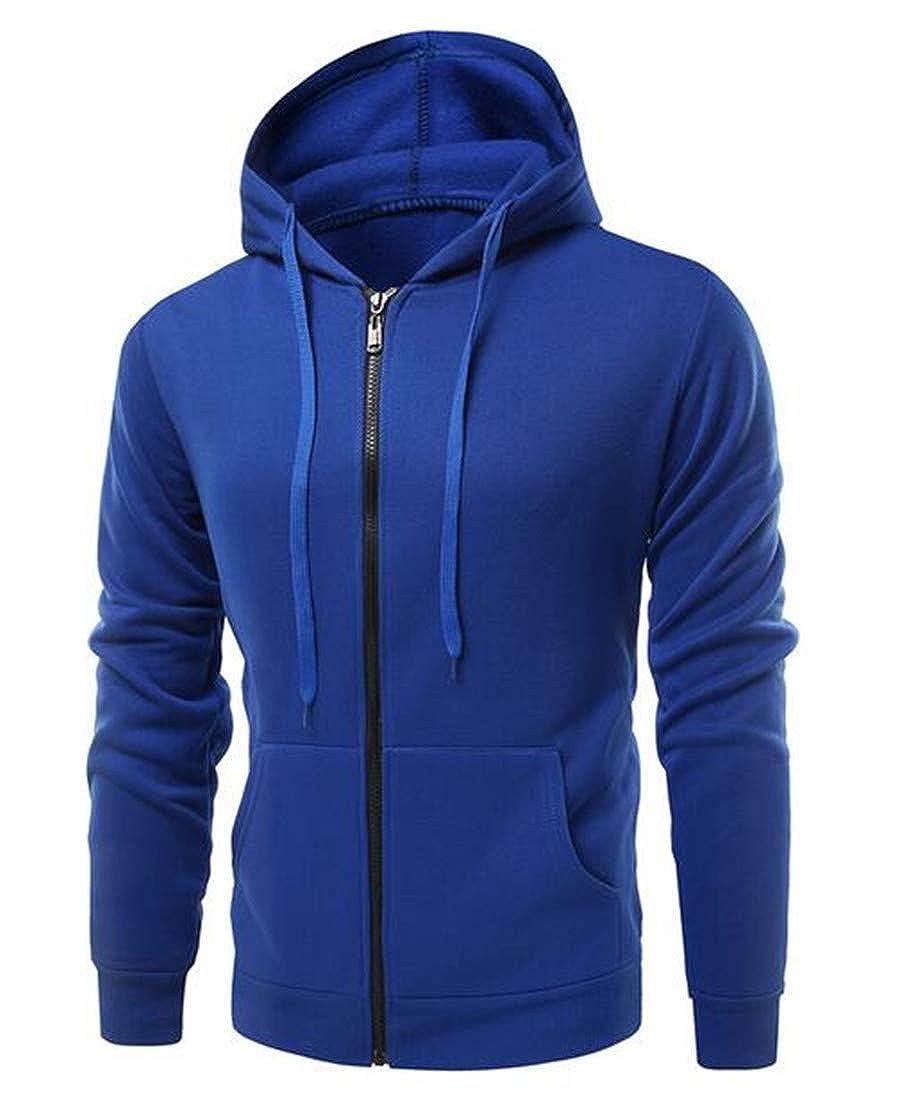 Nanquan Men Solid Color Drawstring Zip Off Fleece Lined Hooded Sweatshirt
