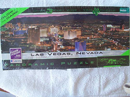 PANORAMIC PUZZLE Las Vegas, NEVADA GLOW IN THE DARK 750 Piece Over 3 Feet Wide Puzzle MADE IN USA ()