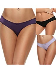 Ekouaer Womens Low Rise Seamless Comfort Hipster Brief Underwear 3 pack