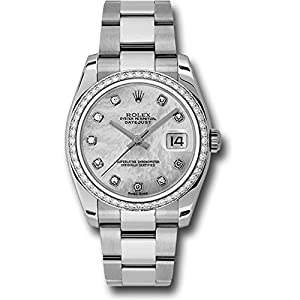 Rolex Datejust 36mm Stainless Steel Case, 18K White Gold Bezel Set With 52 Brilliant-Cut Diamonds, Mother of Pearl Dial, Diamond Hour Markers, And Stainless Steel Oyster bracelet.