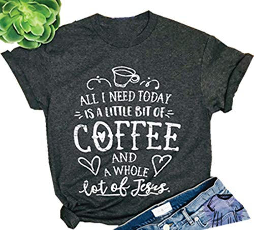 NENDFY A Little Bit of Coffee and A Whole Lot of Jesus T Shirt Women's Letter Graphic Coffee Lover Tees Casual Tops (Small, Grey)
