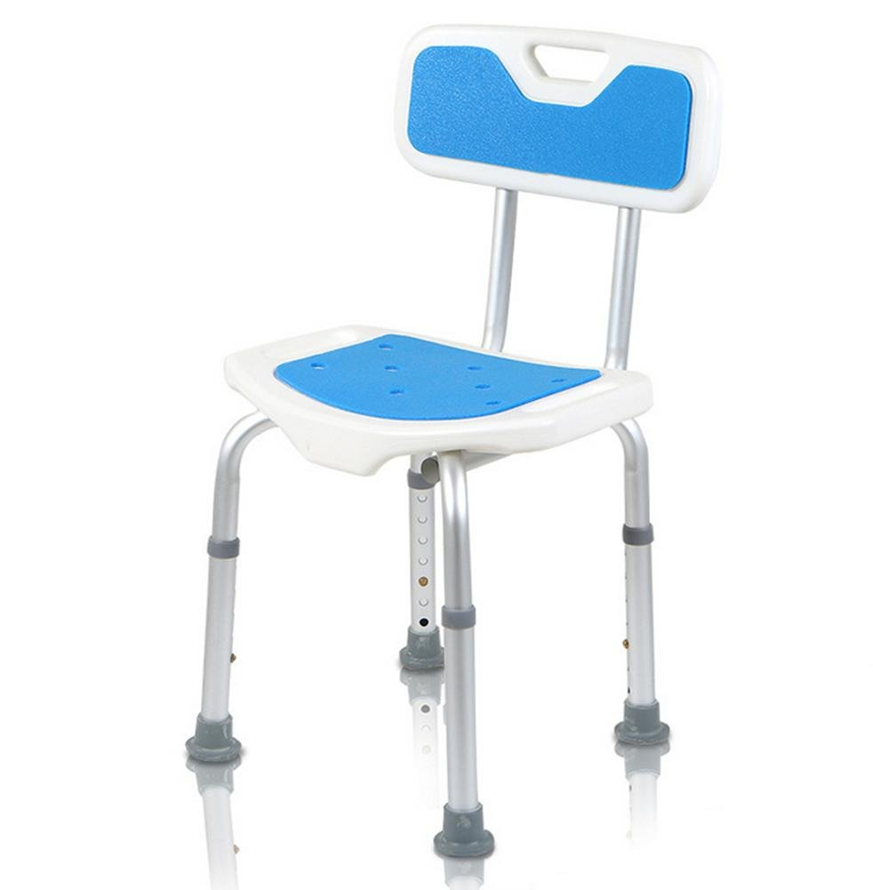Shower Stool Aluminum Alloy Elderly People With A Disabled Person Thicker Non-Slip Bathroom Backrest Bath Chair & Adjustable Height
