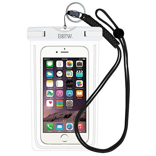 EOTW IPX8 Wasserdichte Tasche, Wasser- und staubdichte Hülle für Geld, Datenträger und Smartphones bis 15,24 cm (6 Zoll), Ideal für den Strand, Wassersport, fürs Radfahren, Angeln, usw. (Weiß, 6,0 Zoll)