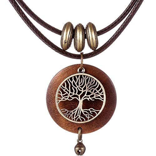 Tree of Life Necklace in Wood and Alloy