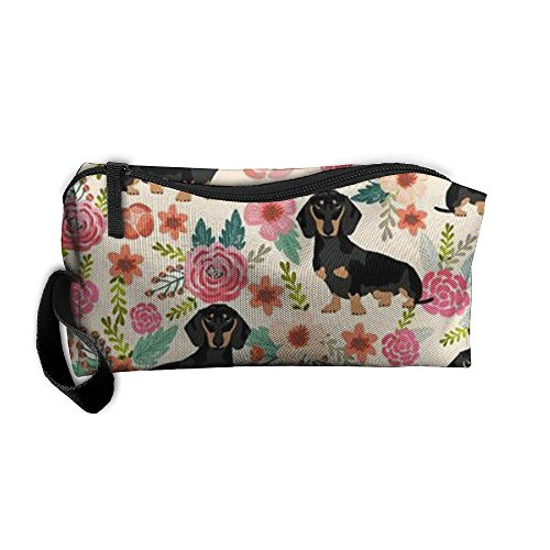 Dachshund Animal Floral Stylish Anti-bacterial Waterproof Cosmetic Bag For Youth Makeup Bag Accessory Case Pencil Case Camping