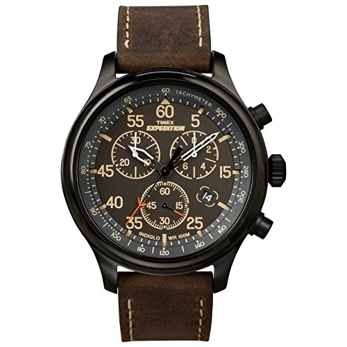 - Timex Men's T49905 Expedition Rugged Field Chronograph Black/Brown Leather Strap Watch