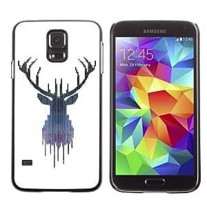 Licase Hard Protective Case Skin Cover for Samsung Galaxy S5 - Hipster Moose Elk Illustration