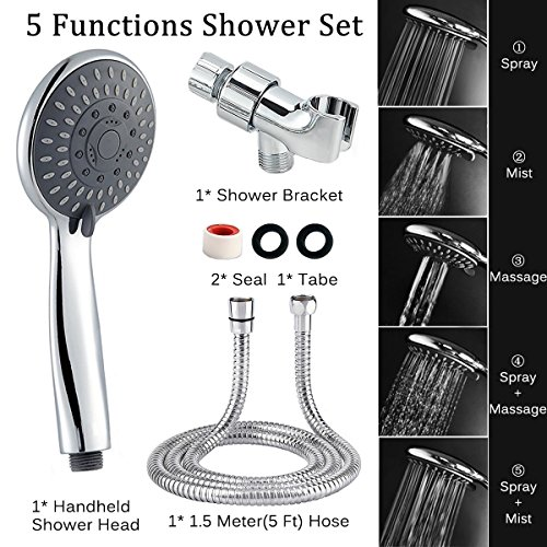 "Shower Head, Arespark 5-Settings 4.1"" Chrome Face High Pressure Handheld Shower Head, Premium Luxury Rainfall Spa Detachable Shower Set, Bathroom Accessories for The Ultimate Shower Experience"