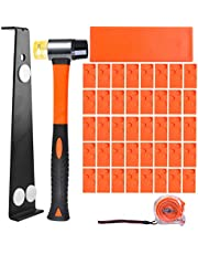 ETEPON Laminate Flooring Installation Kit Set, 44 Pieces Flooring Tools with 40 Spacers, Fiberglass Handle Mallet, Tapping Block, 16.4Ft/5m Tap Measure, and Heavy Duty Pull Bar