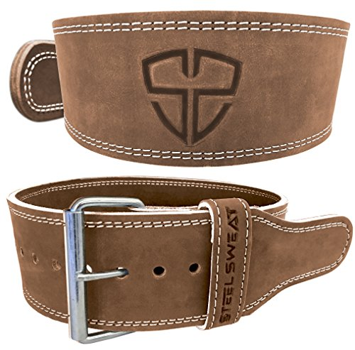 Weight Lifting Belt by Steel Sweat - 4' Wide by 10mm Thick - Single Prong Heavy Duty Adjustable Powerlifting Belt with Vegetable Tanned Leather - Brown Large HYDE
