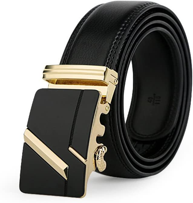Black Formal Belt Crystalzhong-MW Mens Leather Strap Waistband Mens Belts,Leather Ratchet Dress Belt with Automatic Buckle 1 3//8 Wider for from 22 to 44 Waist