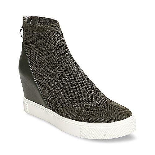 Steve Madden Women's Lizzy Sneaker, Olive, 6 M US
