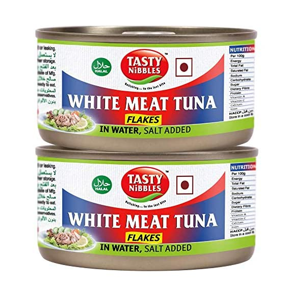 Tasty Nibbles White Meat Tuna Flakes in Water, Salt Added, 185 g X 2