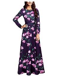 BIUBIU Women's Elegant Floral Long Sleeve Evening Party Maxi Dress Black S-3XL