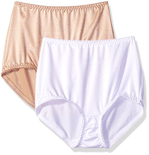 Vassarette Women's Undershapers 2-Pack Light Control Brief 40201, White/Latte, 3X-Large/10