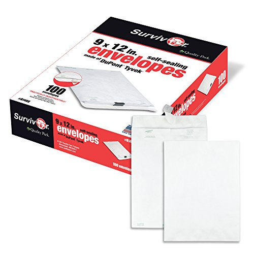 - Quality Park Survivor R1460 Tyvek Mailer, 9 x 12, White (Box of 100)
