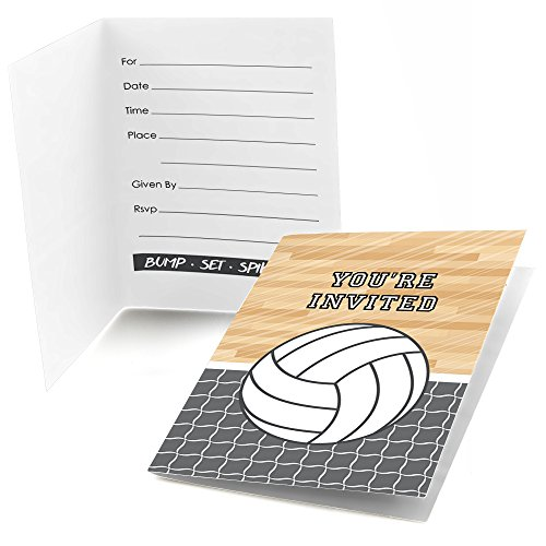 (Bump, Set, Spike - Volleyball - Fill in Baby Shower or Birthday Party Invitations - Set of 24)