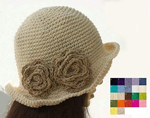 Custom Hand Crochet Cotton Brimmed Flower Sun Hat