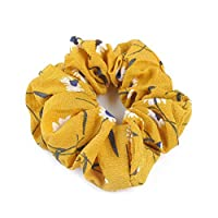Fabal Floral Hair Scrunchies Bun Elastic for Sports Dance Daliy (Yellow)