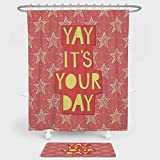 inspiring rustic bathroom sinks Quote Decor Shower Curtain And Floor Mat Combination Set Yay Its You Day Inspiring Motivational Positive Quotation with Stars Art Print For decoration and daily use Orange