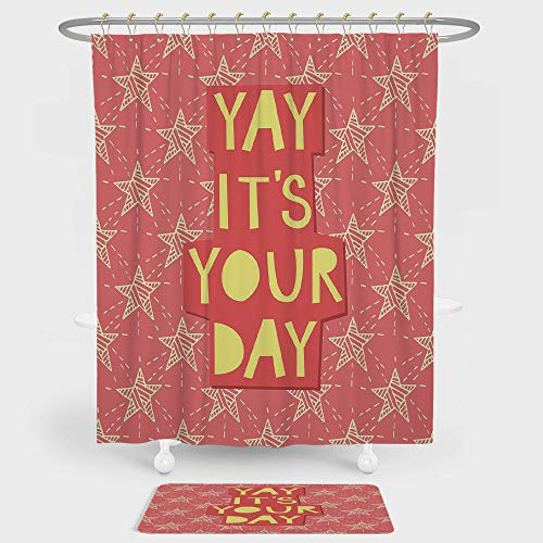 Quote Decor Shower Curtain And Floor Mat Combination Set Yay Its You Day Inspiring Motivational Positive Quotation with Stars Art Print For decoration and daily use Orange