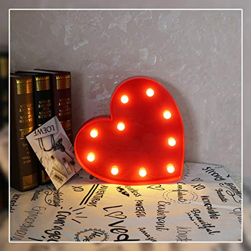Heart Marquee Light GUOCHENG Decor Light LED Night Light Battery Operated Table Lamps on Wall for Party Children Kids Bedroom Lighting Decoration Birthday,Christmas Gifts for Kids (Red Heart) -