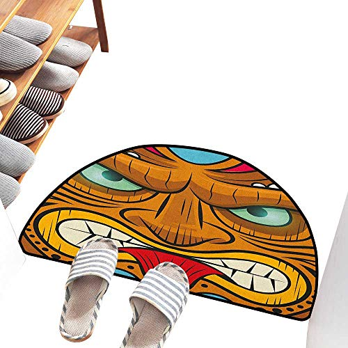 Interior Door mat Tiki Bar Cartoon Style Angry Looking Tiki Warrior Mask Colorful Icon Totem Culture Print Easy to Clean Carpet W31 xL20 Multicolor