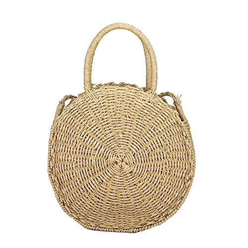 Shoulder Woven Retro Round Rattan Boho Bags Women Messenger Summer Handbag Beach Straw Beige2 RxYpdq