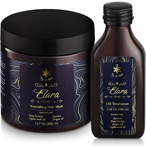 Elara Keratin Treatment for Dry Damaged Hair Repair | Hydrating Mask & Argan Oil Set for All Hair Types | Enriched with Jojoba and Avocado Oil | Deep Conditioning Moisturizing Hair Care | Sulfate Free