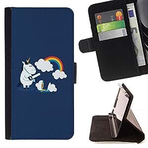 For Sony Xperia M4 Aqua Case , Divertido arco iris lindo del unicornio- la tarjeta de Crédito Slots PU Funda de cuero Monedero caso cubierta de piel