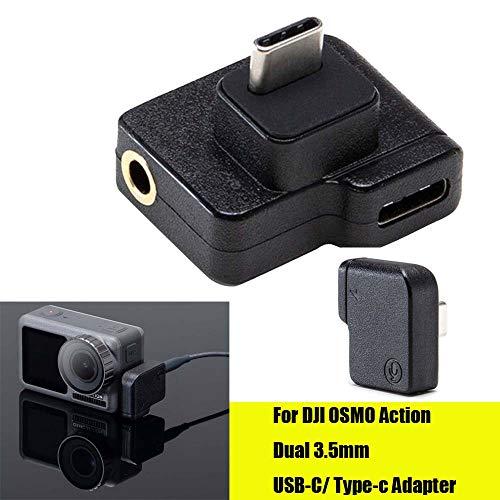 Deng Xuna USB-C Adapter, Dual USB-C auf 3,5 mm Mikrofon Mikrofonadapter für DJI OSMO Action 4K Camera Accessories…