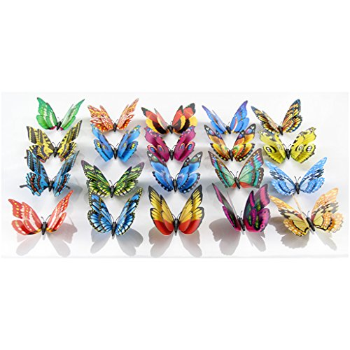 20 Piece Cut Beautifull Double Butterfly Wall Stickers Decoration Magnets