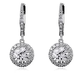 Sterling Silver 925 Cubic Zirconia C.Z. Flower Dangle Leverback Earrings (Nice Holiday Gift, Special Sale)