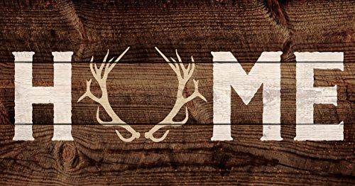 Antler Wall Plaque - P. GRAHAM DUNN Home Deer Antlers Dark Brown 20 x 10.5 Wood Pallet Wall Plaque Sign
