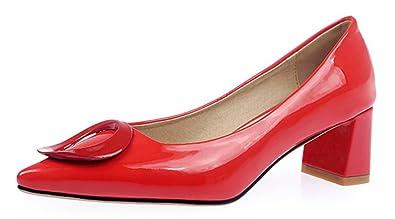 a56830b44 SFNLD Women's Retro Pointed Toe Metal Buckle Slip Ons Block Heel Pumps  Shoes Red 4 B
