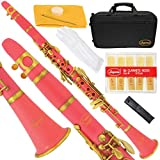160-PK-L - PINK/GOLD Bb B flat Clarinet Lazarro+11 Reeds,Case,Care Kit~12 COLORS Available,CLICK on LISTING to SEE All Colors
