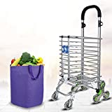 MXXYY Aluminum alloy 8 Wheel Shopping Cart Trolley with Handle Angle Adjustable - Shopper With Swivel Wheels at Front Makes it Light and Easy to Use and Great for Mobility