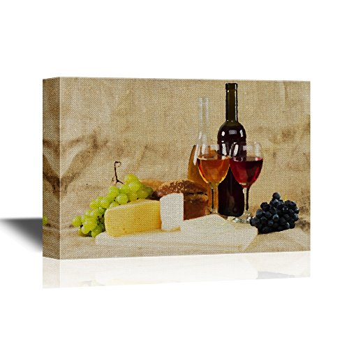 Still Life with Wine and Grapes on Vintage Background