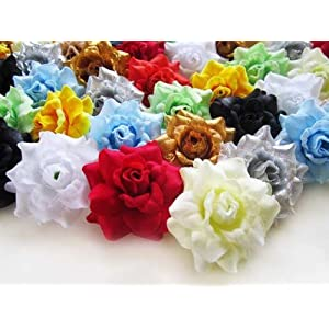 "(100) Assorted Silk Roses Flower Head - 1.75"" - Artificial Flowers Heads Fabric Floral Supplies Wholesale Lot for Wedding Flowers Accessories Make Bridal Hair Clips Headbands Dress 5"