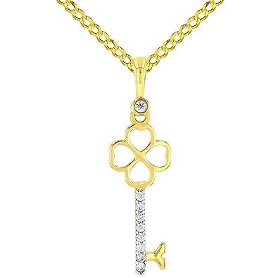 14k Yellow Gold Key CZ Pendant Charm