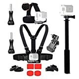 Skiing and Snowboarding Accessories Kit Head Strap + Chest Strap + Selfie Stick + 3M VHB Adhesive Sticky for GoPro Hero 5 session Hero 5 4 Black and for Ski Jumping Skateboarding Skating Outdoor Activities