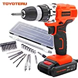 TOYOTERU 18V Pro Cordless Combo Drill Driver with 1500 mAh Lithium-Ion Battery, 2 Gears, 19 Position Keyless Chuck, Variable Speed Switch & 27 Piece Drill and Screwdriver Bit Accessory Set