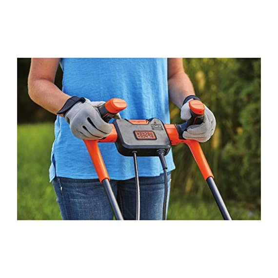 BLACK+DECKER Electric Lawn Mower, 10 -Amp, 15-Inch (BEMW472BH) 9 IMPROVED ERGONOMICS: Comfort grip handle makes the lawn mower easy to maneuver BETTER CLIPPING COLLECTION: Our winged blade achieves 30% better clipping collection NO MORE PULL CORDS: Push-button start makes starting the lawn mower a breeze