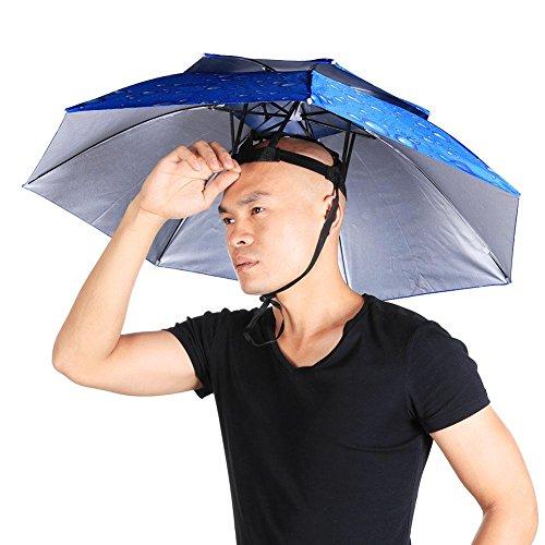 Diamondo Headwear Umbrella Shade Fishing Waterproof Hat Double UV Blue Raindrop Sun FxqHFr