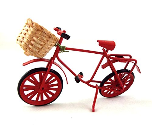 Melody Jane Dolls Houses House Miniature Garden Shop Accessory Red Shopping Bike Bicycle W Basket ()