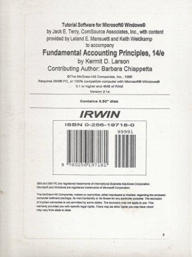 Tutorial Software for Microsoft Windows to Accompany Fundamental Accounting Principles, 14 Edition