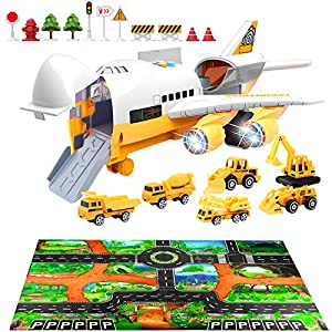 Best Epic Trends 51LasnVnKpL._SS300_ Car Toys Set with Transport Cargo Airplane and Large Play Mat, Educational Vehicle Construction Car Set for Kids Toddler…