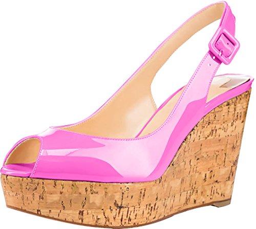 ancho Sintético 10CM Mujer Sandalias Rosa Trusify 10cm 46 vestir Truabsent tamaño Tacón 34 EU de fw8avq