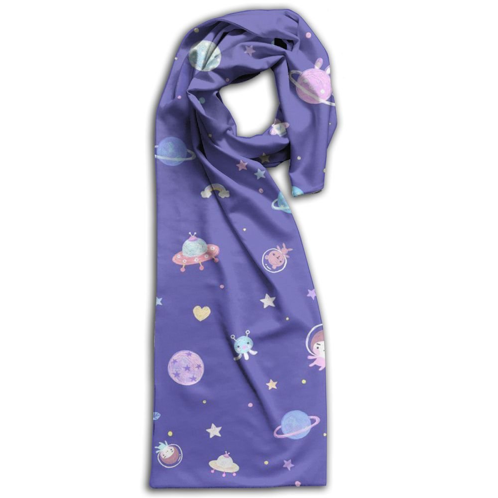 Women Travel In The Universe Stylish Polyester Warm Winter Outdoor Scarf For Adults
