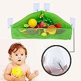 Mesh Bath Toy Organizer, Bathtub Toys & Bathroom Storage Net Bag, Corner Shower Caddy Bag with 5 Strong Hooks for Kids, Toddlers & Baby (Green)